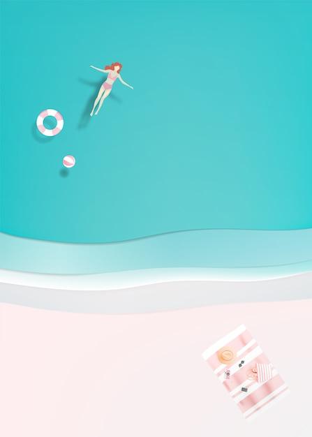 Mulher, flutuante, mar Vetor Premium