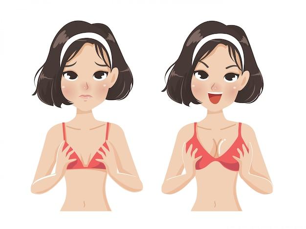 Mulher, grande, peito, pequeno, peito Vetor Premium