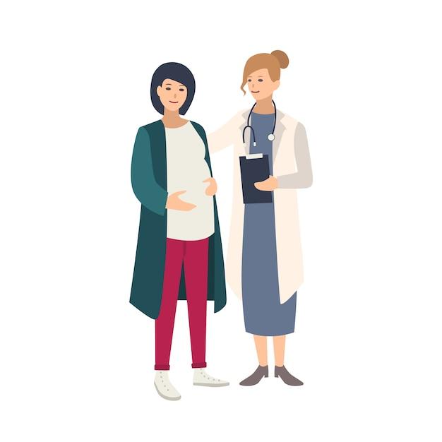 Mulher grávida alegre em pé junto com a médica, médica ou parteira e falando com ela. gravidez saudável, saúde reprodutiva. ilustração colorida em estilo cartoon plana Vetor Premium