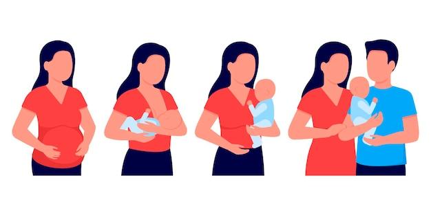 Mulher grávida, amamentando, mãe alimentando um bebê recém-nascido com o peito nas mãos. Vetor Premium