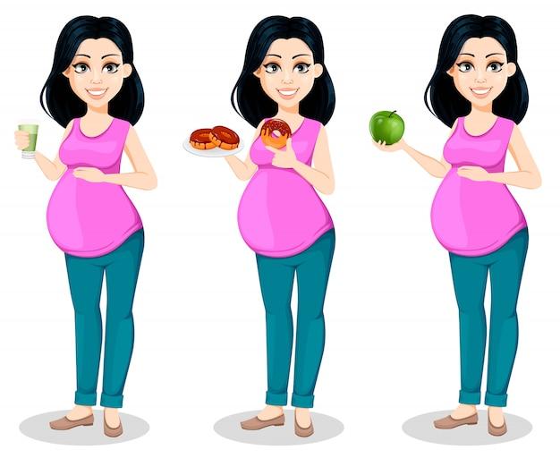Mulher grávida bela moça Vetor Premium