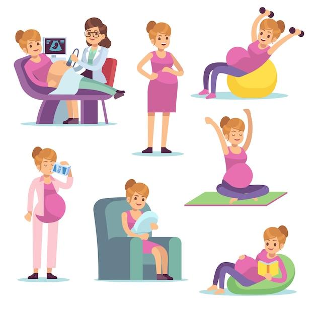Mulher grávida dieta feminina de gravidez comendo bebendo sentado fazendo exercícios, personagens de desenhos animados Vetor Premium