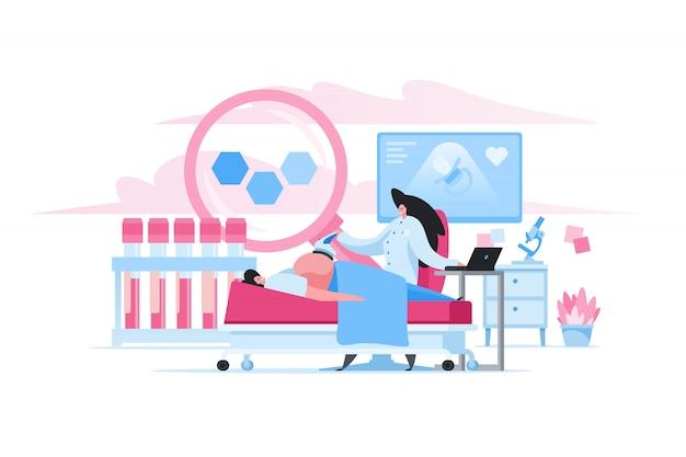 Mulher gravida durante o exame ultra-sônico na clínica. ilustração de pessoas plana dos desenhos animados Vetor Premium