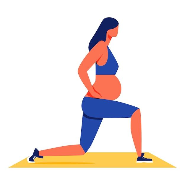 Mulher gravida que faz a aptidão no fundo branco. Vetor Premium