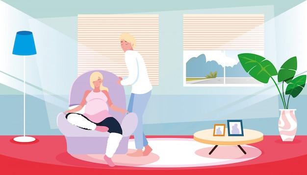 Mulher grávida sentada no sofá com o marido dentro de casa Vetor Premium