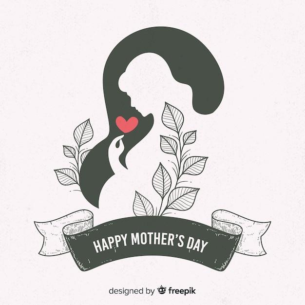 Mulher grávida, silueta, dia mãe, fundo Vetor Premium