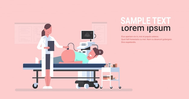 Mulher grávida visitando médica e fazendo ultra-som Vetor Premium
