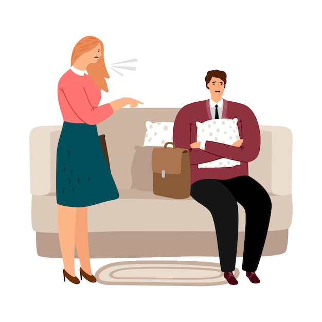 Mulher gritando com homem. violência doméstica, abusando do conceito Vetor Premium