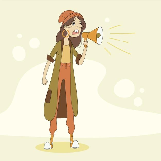 Mulher gritando com um megafone e em pé Vetor grátis