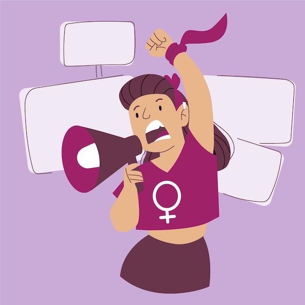 Mulher gritando com um megafone Vetor grátis