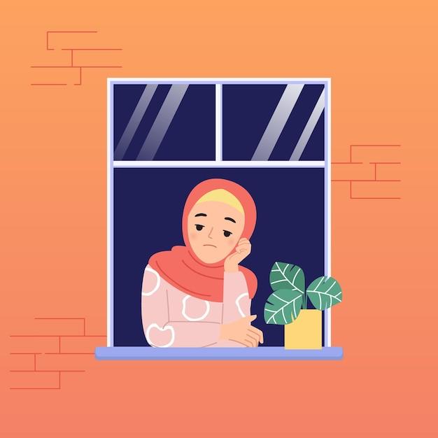 Mulher hijab se sente entediada de ficar em casa por causa da pandemia do vírus corona. janela na parede de tijolos. projeto liso dos desenhos animados. Vetor Premium