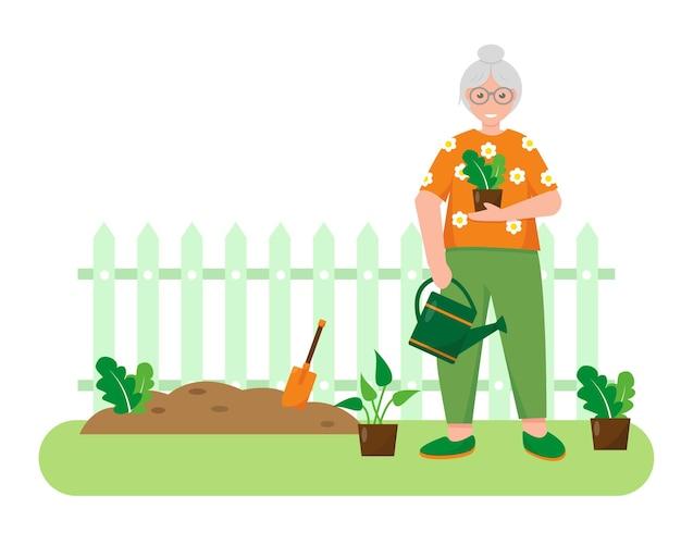 Mulher idosa com plantas e ferramentas de jardinagem no jardim. projeto de conceito de jardinagem. banner ou plano de fundo de primavera ou verão Vetor Premium
