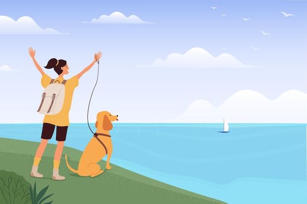 Mulher ilustrada viajando com o cachorro Vetor grátis