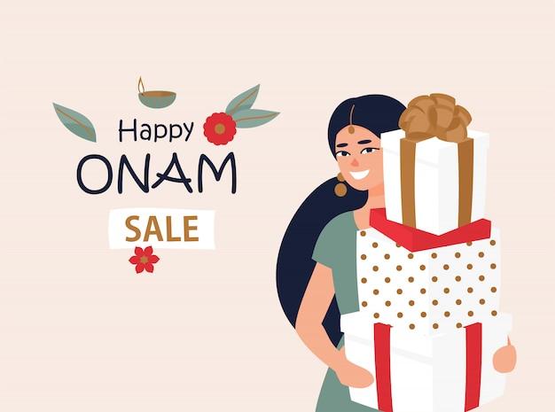 Mulher indiana com caixas de presente para o festival de onam Vetor Premium