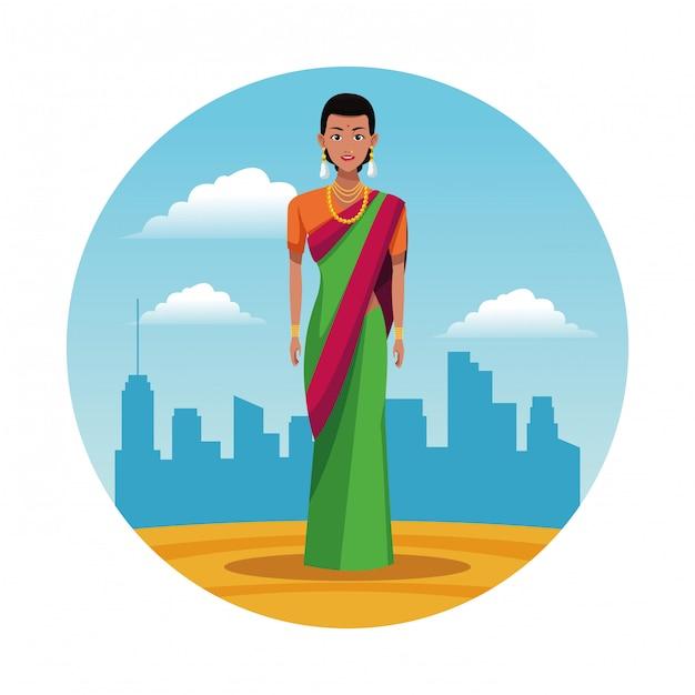 Mulher indiana índia rodada dos desenhos animados do ícone Vetor grátis
