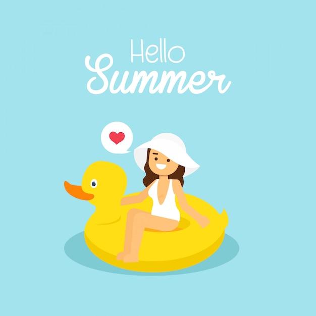 Mulher, ir viajar, em, feriado verão, menina, desgastar, branca, swimsuit, natação, ligado, a, inflável, pato amarelo Vetor Premium