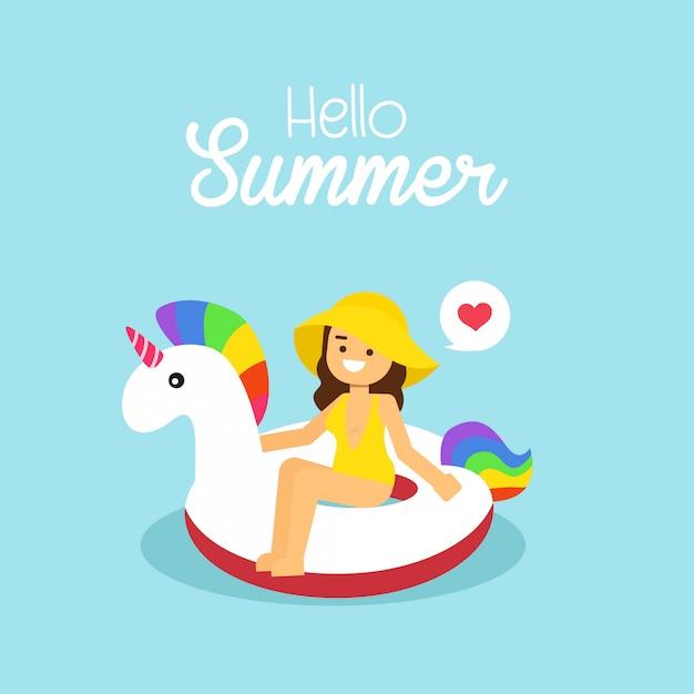 Mulher, ir viajar, em, feriado verão, menina, desgastar, swimsuit, natação, ligado, a, inflável, unicórnio Vetor Premium