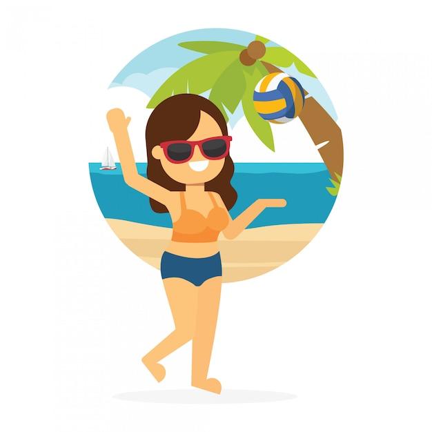 Mulher, ir viajar, em, feriado verão, menina jovem, jogar, voleibol praia Vetor Premium