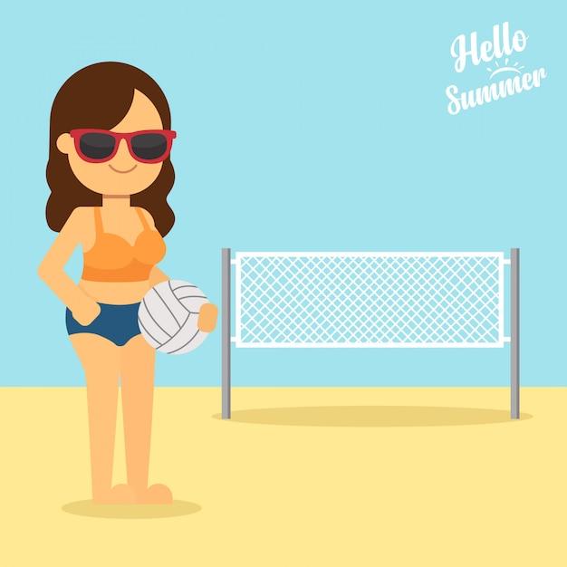 Mulher, ir viajar, em, feriado verão, mulher jovem, segurando, um, bola voleibol, em, mãos Vetor Premium
