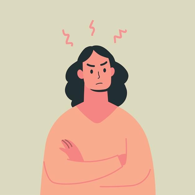 Mulher irritada nova, expressão louca, ilustração do vetor. Vetor Premium