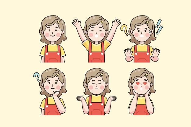 Mulher japonesa mostrando emoções diferentes Vetor grátis