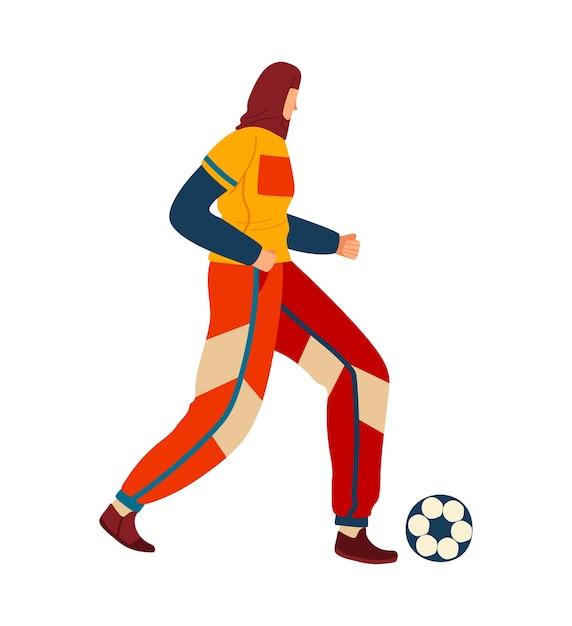 Mulher jogando futebol Vetor Premium