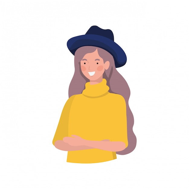 Mulher jovem, branco Vetor grátis