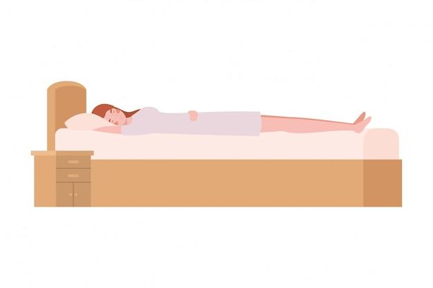 Mulher jovem, cama, com, dormir, pose Vetor Premium