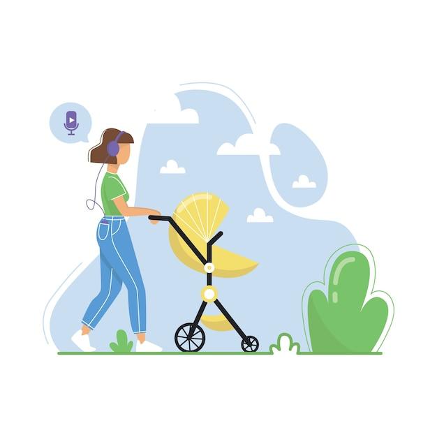 Mulher jovem caminhando com um carrinho de bebê e ouvindo podcasts, streaming de rádio online, música, audiolivros. ilustração plana. Vetor Premium
