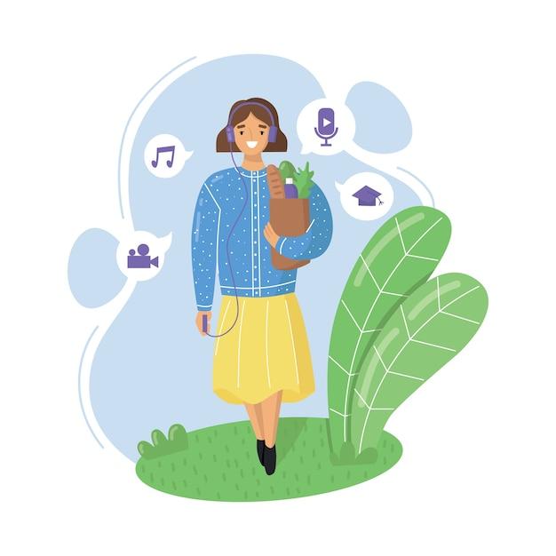 Mulher jovem com fones de ouvido vai às compras e ouve podcasts, streaming de rádio online, música ou audiolivros. ilustração plana. Vetor Premium