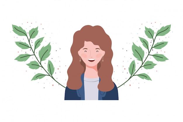 Mulher jovem, com, ramos, e, folhas Vetor Premium