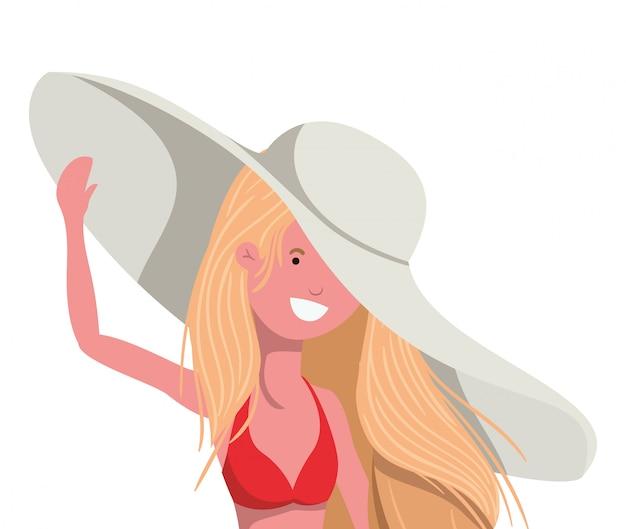 Mulher jovem, com, swimsuit, branco Vetor grátis
