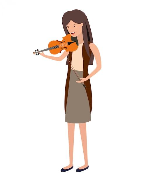 Mulher jovem, com, violino, personagem Vetor Premium