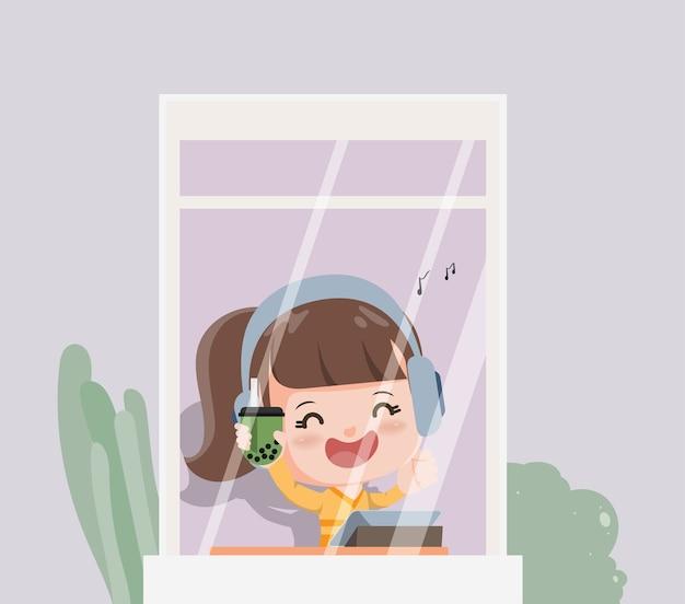 Mulher jovem desfrutar da música e beber chá verde de bolha. novo estilo de vida normal ficar em casa. Vetor Premium