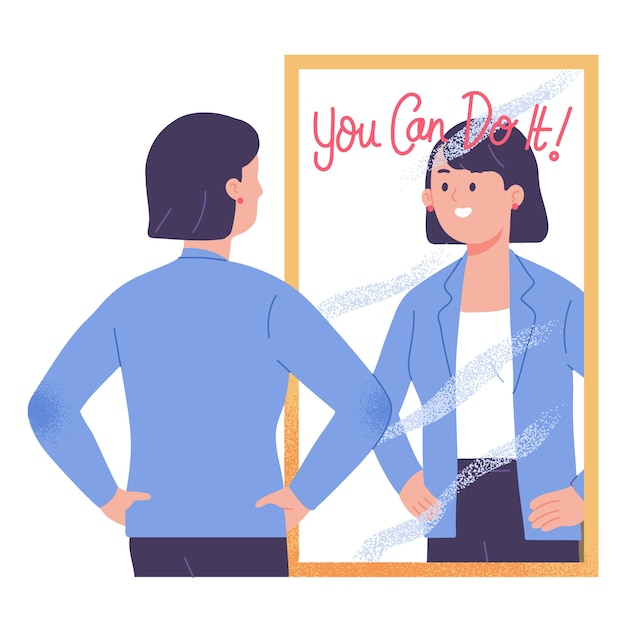 Mulher jovem em frente ao espelho motivada e confiante de que você pode fazer isso ilustração vetorial Vetor grátis