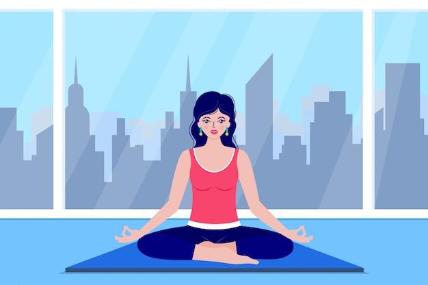 Mulher jovem medita Vetor Premium