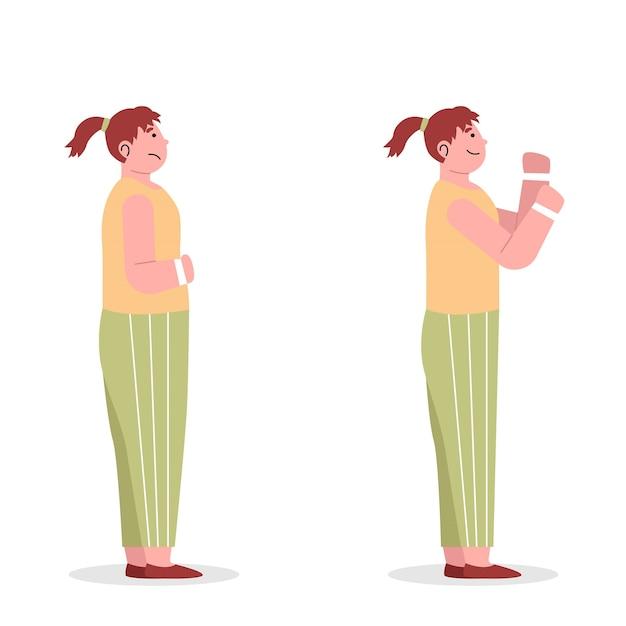 Mulher jovem muda de obesidade para magra Vetor Premium
