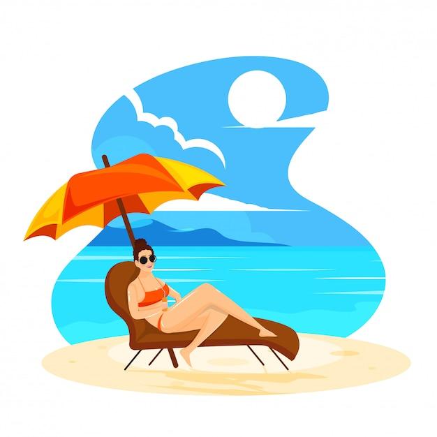 Mulher jovem, relaxante, ligado, cadeira praia, para, verão, férias, desenho Vetor Premium