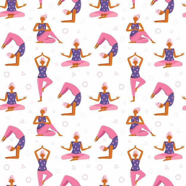 Mulher jovem sem costura padrão faz ioga e meditação em casa. diferentes poses de ioga e asanas. garota fazendo esportes, exercícios, treino de fitness, alongamento, aquecimento, lazer. Vetor Premium