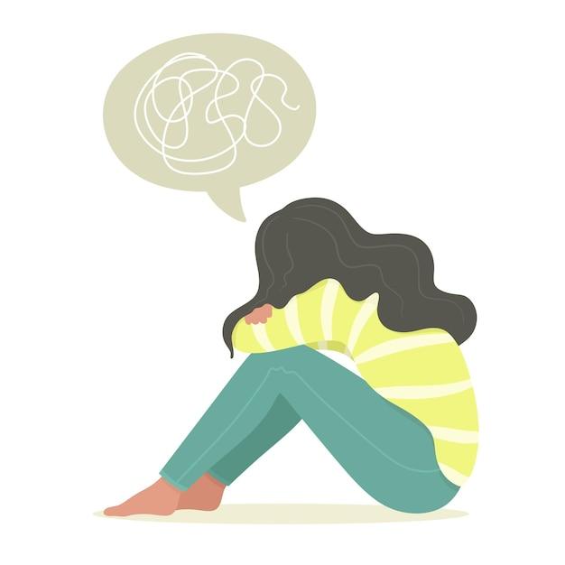 Mulher jovem sentada, adolescente, sofrendo de doença psicológica, desordem, ansiedade. Vetor Premium