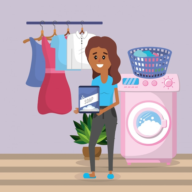 Mulher, lavanderia Vetor Premium