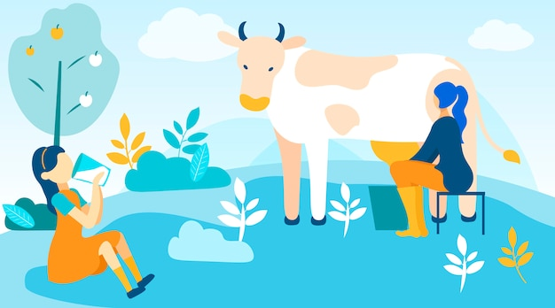 Mulher, leites, vaca menina, bebidas, leite fresco Vetor Premium