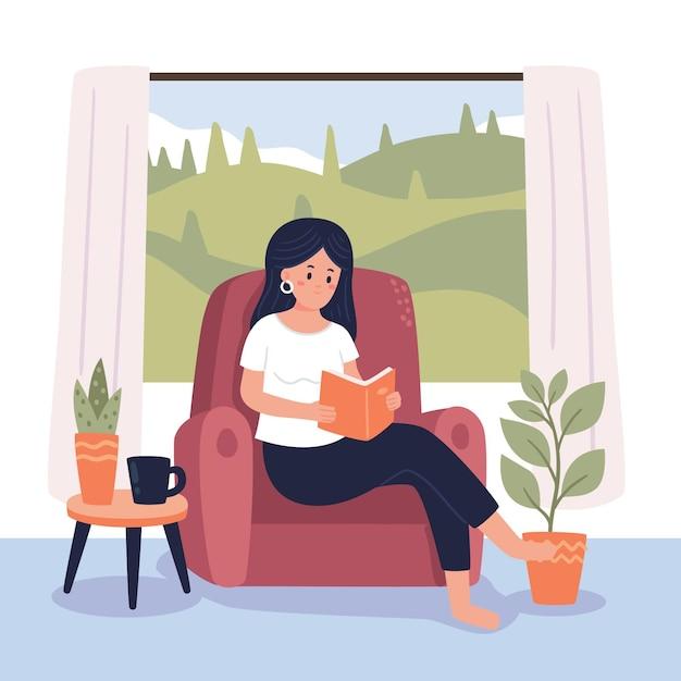 Mulher lendo cenas de estilo de vida hygge Vetor grátis