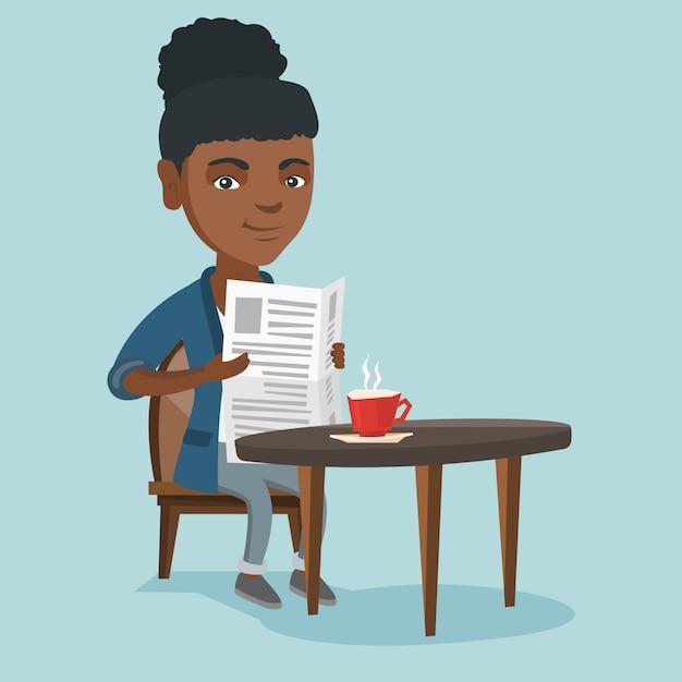 Mulher lendo um jornal e bebendo café. Vetor Premium