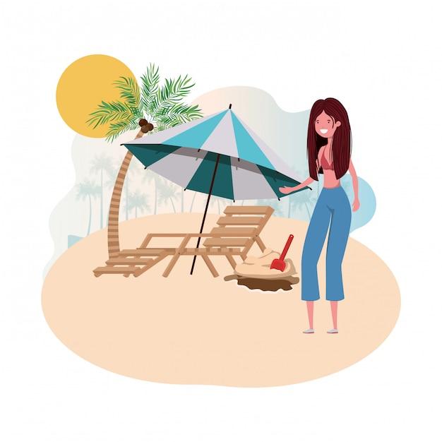 Mulher, ligado, ilha, com, swimsuit, e, cadeira praia Vetor grátis