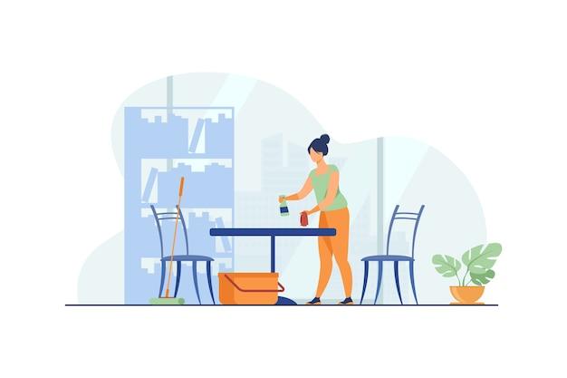 Mulher limpando e lavando a casa. Vetor grátis