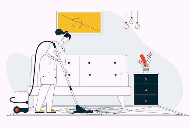 Mulher limpando o chão na sala de estar, limpeza da casa. jovem com aspirador de pó, limpar o chão da sala, vida diária e rotina. ilustração em vetor personagem de dona de casa, trabalho doméstico Vetor Premium