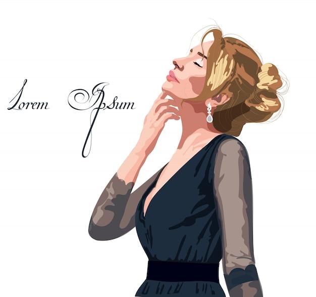 Mulher linda em um vestido preto Vetor Premium