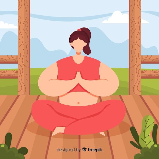 Mulher lisa, apreciando a meditação Vetor grátis