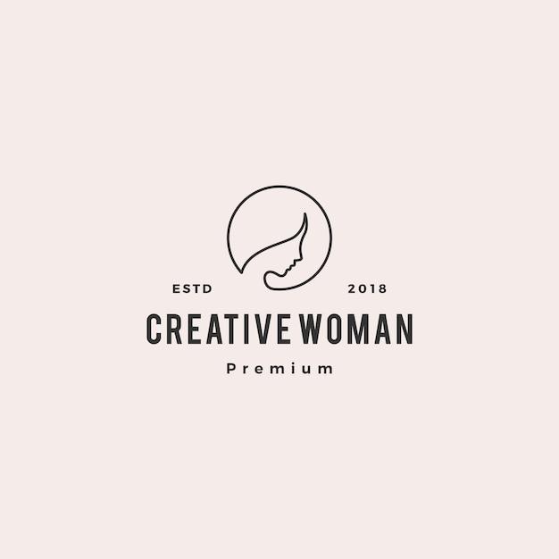 Mulher logo vector ícone ilustração linha contorno monoline Vetor Premium